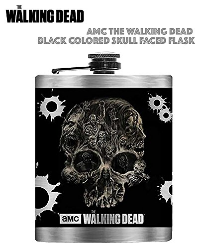 The AMC Walking Dead Black Skull Flask with Silver Colored -