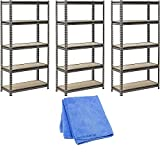 Muscle Rack UR301260PB5P-SV Silver Vein Steel Storage Rack, 5 Adjustable Shelves, 4000 lb. Capacity, 60'' Height x 30'' Width x 12'' Depth, 3-Pack with Dust Wipe Cloth