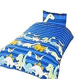 Dinosaur Childrens/Boys Duvet Cover Bedding Set (Twin) (Blue)