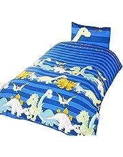 Dinosaur beddengoed voor kinderen en jongens, eenpersoonsbed (blauw)