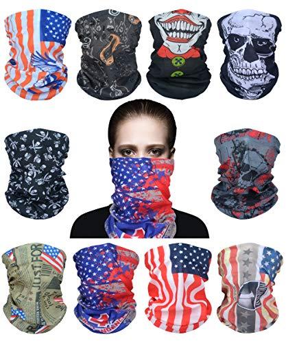 Sunland Tube Skull Face Mask Bandana Magic Scarf Headband Neck Gaiter 10 Pack
