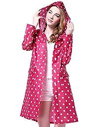 Lady's Raincoat Women's Long Style Rain Jacket Lightweight Rainwear Hooded Rain Cape (Red)