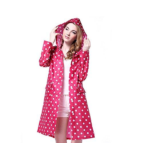LOHOME Lady's Raincoat, Women's Long Dot Style Waterproof...