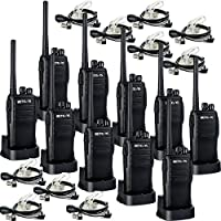 Retevis RT21 Two Way Radio Rechargeable UHF 400-480MHz 16 CH VOX Scrambler Squelch Security Walkie Talkies(10 Pack)and 2 Pin Covert Air Acoustic Earpiece(10 Pack)