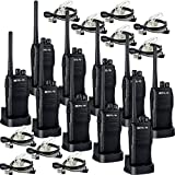 Retevis RT21 Two Way Radio Rechargeable UHF 400-480MHz 16 CH VOX Scrambler Squelch Security Walkie Talkies(10 Pack) and 2 Pin Covert Air Acoustic Earpiece(10 Pack)