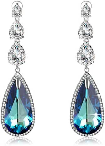 Mother's Day Gifts PLATO H Ocean Blue Heart Teardrop Earrings with Swarovski Crystals Women Fashion Jewelry Valentine Gift for Her Blue