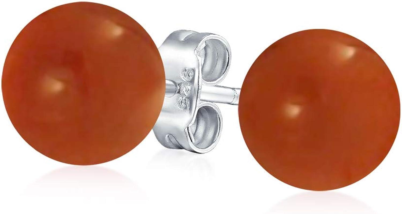 Piedras Preciosa Estabilizada Simple Balón Redondo Pendiente De Boton Para Mujer 925 Plata De Ley 925 7Mm