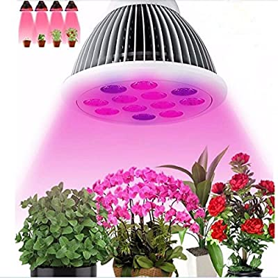LEDMO LED Growing Lights / Bulbs for Indoor Plants and Vegetables,3 band, 12W, Plant Growing Bulb for Garden Greenhouse Plants Growing Lamps, Red and Blue