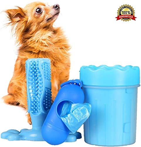 Dog Paw Cleaner & Toothbrush Toy Set | for Small Dogs | Upgraded 3in1 Pet Care Combo | Puppy Safe, Non Toxic, Portable, Washable | Valuable Gift for Dog Lovers | Free Waste Dispenser Bag
