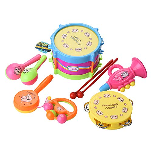 Kids Musical Play Set Gift -7 Pcs Kids Baby Drum Musical Instruments Band Kit Children Toy Education,Musical Instrument Toys Play Set,Early Education Developmental Gift [Ship from USA Directly] (Noten Christmas Shake Up)