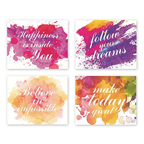 Sanrx Motivational Typography Art Print Painting, Letterings&Signs Quote Cardstock Art Poster Inspirational Phrases Wall Art Decor (Set of 4, 8'' x 10'',Unframed)
