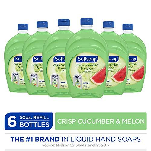 - SOFTSOAP Liquid Hand Soap Refill, Crisp Cucumber and Melon, 50 Ounce Bottle, Bathroom Soap, Bulk Soap, Premium Scented Hand Soap