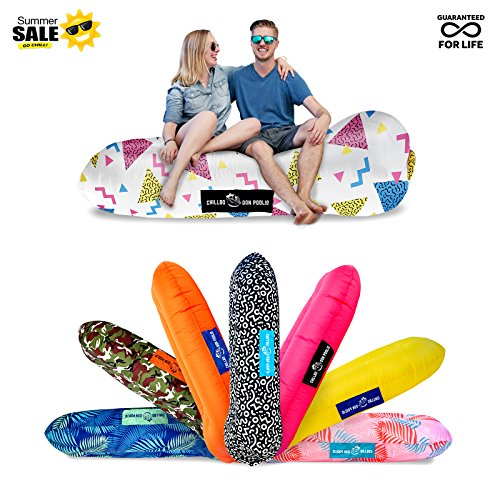- Chillbo DON POOLIO Best Pool Floats Inflatable Lounger River Float Air Lounge Hammock Sun Bed Pool Toy Floating Mattress (PATENT PENDING) (90s Fresh Prints White)