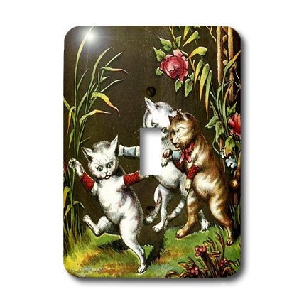 - 3dRose lsp_49380_1 Vintage 3 Cats at Play Single Toggle Switch