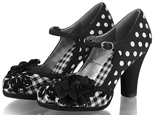 Ruby Shoo Ladies Hannah Black Spots Gingham Floral Vegan Friendly Shoes -UK 9 (EU 42)