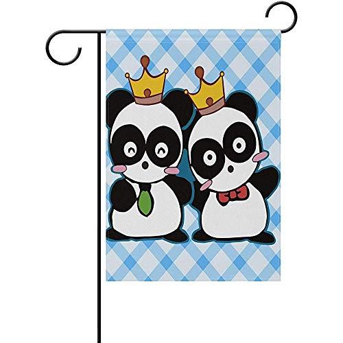 (SGBTJKU Premium Garden Flag 12 x 18 Inches Garden Flag Decorative Happy Cute Panda Polyester Polyester Garden Flag Flag Banners for Patio Lawn Outdoor Home)