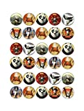30 X KUNG FU PANDA MIXED IMAGES EDIBLE CUPCAKE TOPPERS PREMIUM RICE PAPER 240