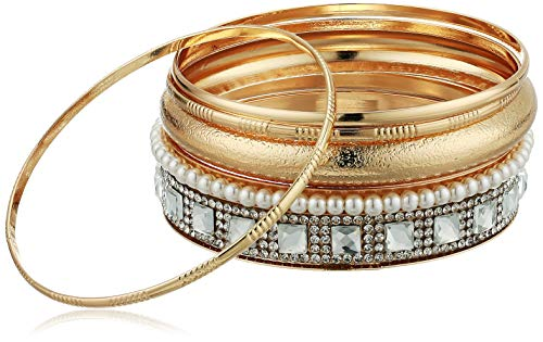 - GUESS Women's 6 Pc Bangle Set with Stones, Gold, One Size