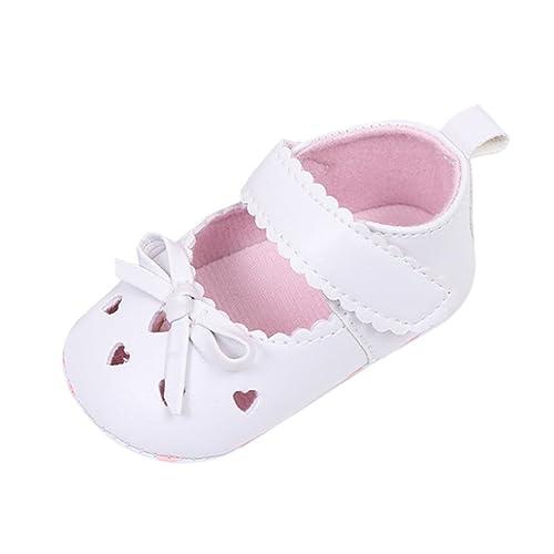 Huihong Scarpe Primi Passi Bambina, Scarpe Neonato Bimbo Scarpe da Passeggio Bowknot Antiscivolo Scarpette Neonato
