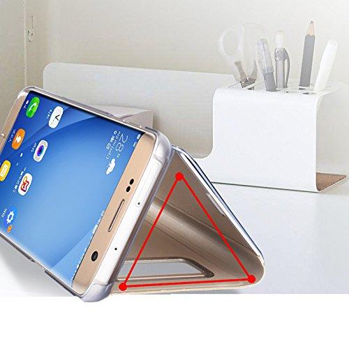 Samsung Galaxy Note 8 espejo Funda de espejo Flip Case, Espejo Reflexión Brillante Ultra fino duro Anti-Scratch de para Samsung Galaxy Note 8(Oro): ...