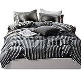 BHUSB Dark Grey Stripe Bedding Sets Queen Reversible 100% Premium Cotton Striped Duvet Cover Set Full for Boys Men Zippered Comforter Cover Full 3 Piece Sets Include 2 Pillow Cases