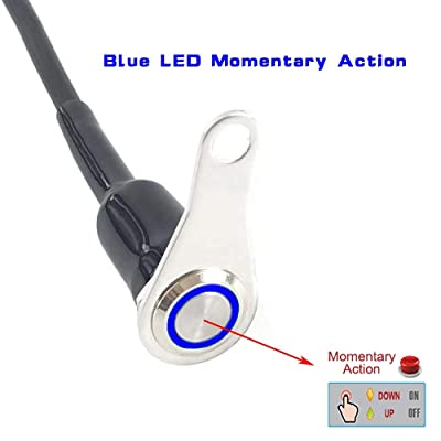Universal Stainless Steel LED Motorcycle Switch Horn Handlebar Adjustable Mount Waterproof Switches Button DC12V momentary Actions Cycling retail (A-Blue-M): Industrial & Scientific