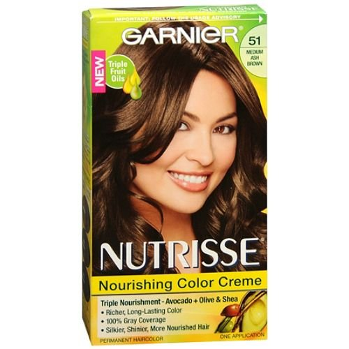 Garnier Nutrisse Niveau 3 Creme permanente coloration, Medium Ash Brown 51 (Thé Cool) 1 ea