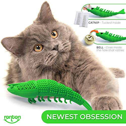 Ronton Cat Toothbrush Catnip Toy - Durable Hard Rubber - Cat Dental Care, Cat Interactive Toothbrush Chew Toy, Refillable Catnip Kitten Teaser Toy with Bell 6
