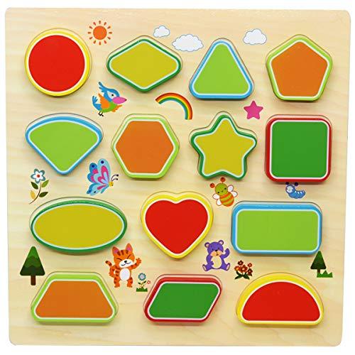 (GYBBER&MUMU Wooden Puzzles Geometry Shape Blocks Preschool Wooden Toys Shape Sorter Board Educational Gift for Tollder)