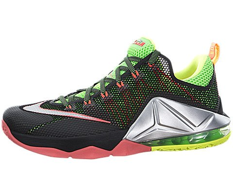 Nike Lebron XII Low Mens Black/Silver/Green/Volt Athletic Sneakers