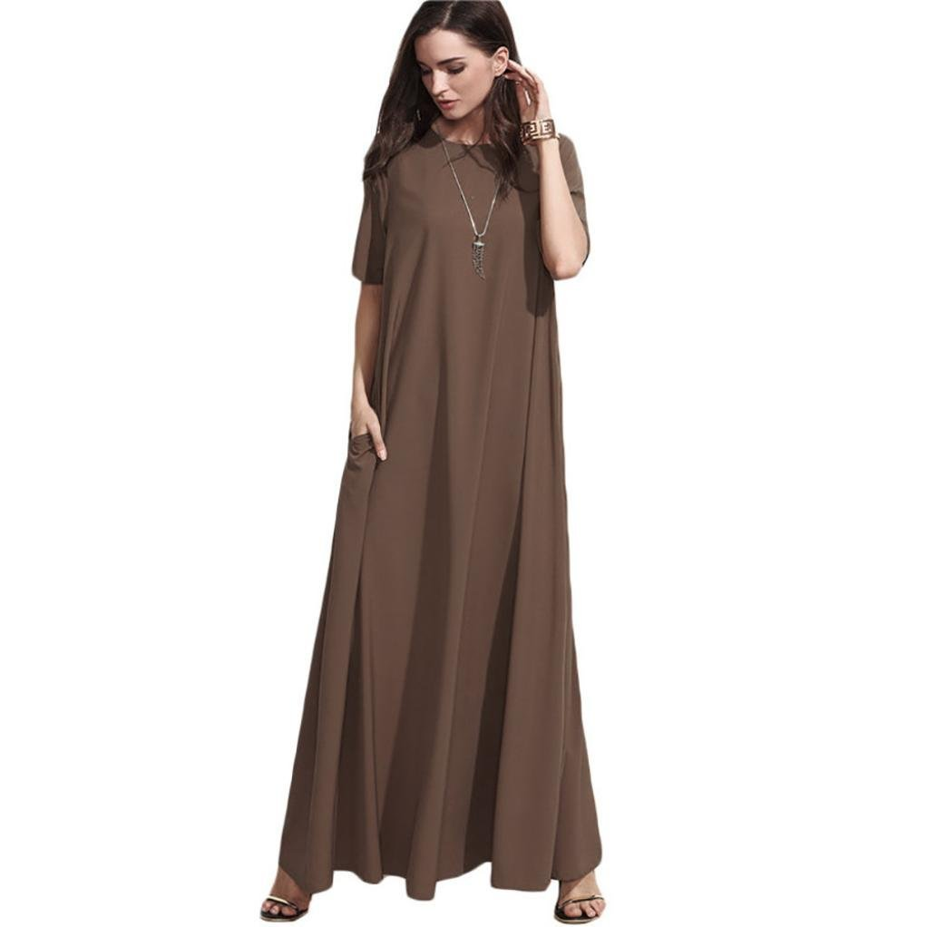 XJLUS-Apparel Plus Size Maxi Dresses With Sleeves For Women Fashion Solid O-Neck Short Sleeve Evening Party Loose Dress Brown S-XL