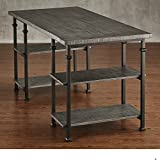 ModHaus Living Industrial Modern Rustic Metal Oak Computer Writing Storage Desk with 4 Open Shelves – Includes Pen (Gray)