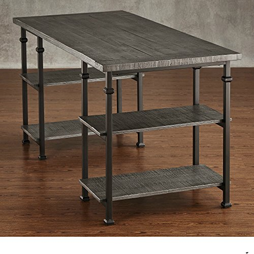 ModHaus Living Industrial Modern Rustic Metal Oak Computer Writing Storage Desk with 4 Open Shelves - Includes Pen (Gray)