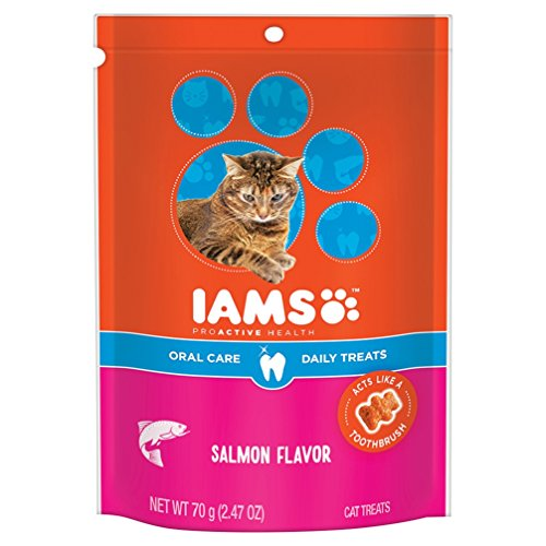 Iams PROACTIVE HEALTH Oral Care Daily Treats for Cats Salmon Flavor 2.47 Ounces (Pack of 10) by Iams