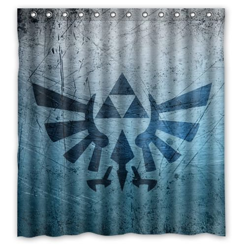 Custom Waterproof Polyester Fabric Bathroom Triforce Legend Of Zelda Shower Curtain With 12 Hooks 66quot