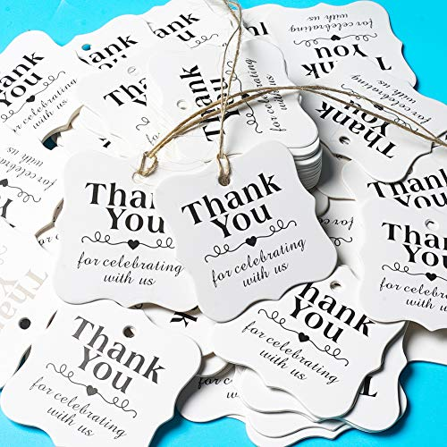 SallyFashion 150 PCS Paper Gift Tags Thank You Gift Tags with String for DIY Thanksgiving Day Halloween Christmas Wedding Party Favors