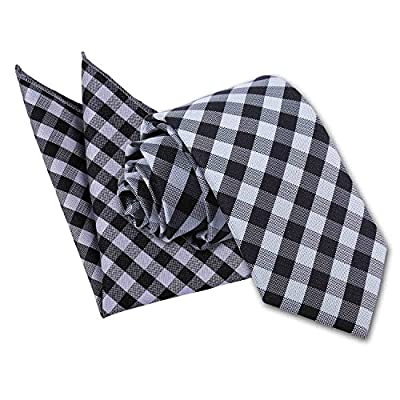 DQT Premium Woven Microfibre Gingham Check Wedding Men's Classic Slim 7cm Tie and Handkerchief Pocket Square Hanky 2 pc. Matching Set - Various Colours