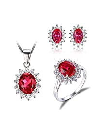 JewelryPalace Princess Diana William Kate Middleton's 7.9ct Created Red Ruby Jewelry Sets Engagement 925 Sterling Silver Ring Pendant Necklace Stud Earrings