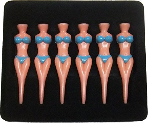 Set of 6pcs Novelty Bikini Lady Girl Golf Tees Divot Tools Joke Stag Party Funny Blueot Tools Tees by Generic (Image #1)