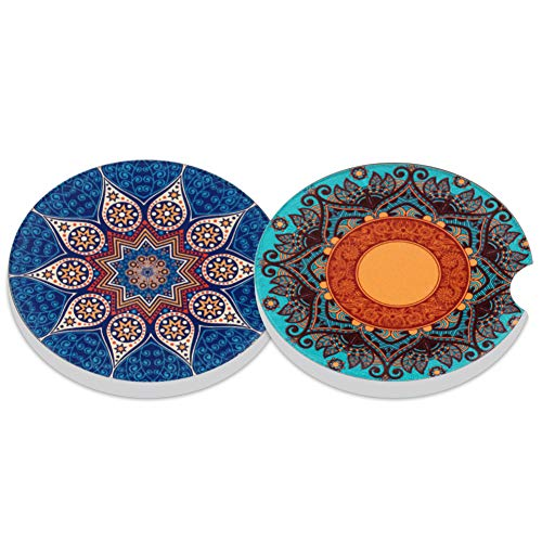 Absorbent Stoneware Car Coaster,Ceramic Auto Cupholder Coasters,Set of 2 Stone Coasters for Drinks Absorbent (7)