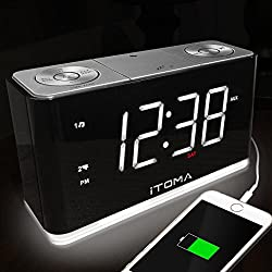 iTOMA Alarm Clock Radio, Digital FM Radio, Dual Alarm, Cell Phone USB Charge Port, Night Light, Auto & Manual Dimmer, Snooze, Sleep Timer, Auto Time Setting, AUX-IN, Backup Battery (CKS507)