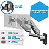 AVLT-Power Dual 32' Monitor Wall Mount - 16.6' Fully Adjustable Gas Spring Arm Holds 17.6 lbs VESA Compatible Computer Screen - Premium Aluminum, Grey