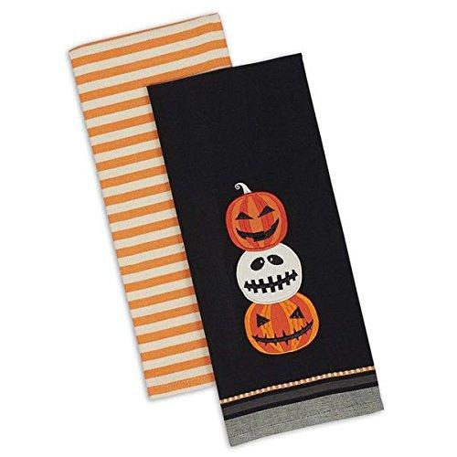 Cute Gift Ideas For Halloween (Set of 2 Halloween Hand Towels - Jack O Lantern Stripe - DII Design Imports - Halloween Fall Gift Idea Kitchen Decor)
