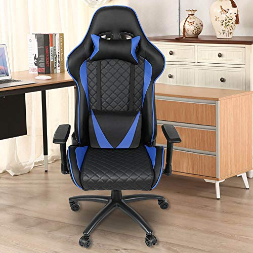 Game Chair, Bingogous 500lb Large Size Racing Office Computer Game Chair with Ergonomic Backrest/Massage High-Back/Adjustable Pillows/Swivel Rocker/Lumbar Tilt (Blue)