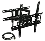 Mount-It! Articulating TV Wall Mount Corner Bracket, VESA 400 x 400 Compatible, Stable Dual Arm Full Motion, Swivel, Tilt Fits 32, 37, 40, 42, 47, 50 Inch TVs, 115 Lbs Capacity With HDMI Cable Black