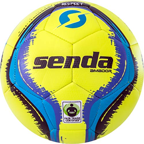 (Senda Amador Training Soccer Ball, Fair Trade Certified, Yellow/Light Blue, Size 4 (Ages 8-12))