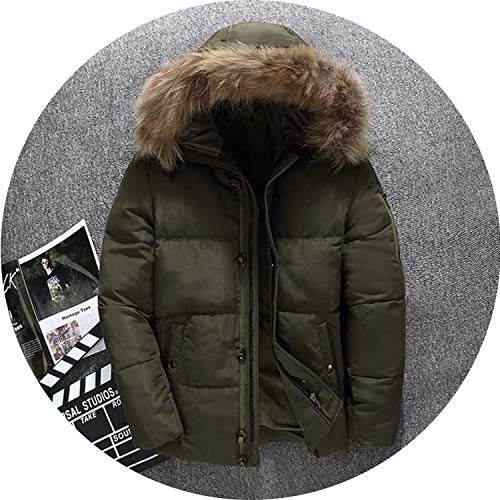 2018 New Winter Down Coat Men Thick Fur Collar Hooded Dowm et Men Warm Windproof ETS,Army Green,L -