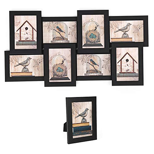 SONGMICS Picture Frames Collage for 8 Photos in 4 x 6 Inches and 1 Single Frame, Display Wood Grain, Glass Front, Assembly Required, Black - Array Display Horizontal