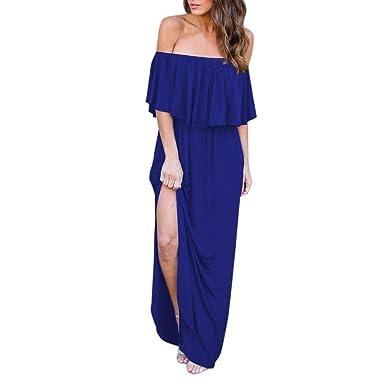 93c11a8987788 OVERDOSE Robe Longue à épaules Dénudées, Sexy D'été Tall Femme Casual  Manches Courtes