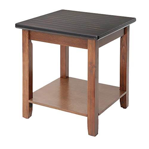 IWELL Side Table for Living Room, End Table with Rubberwood Leg,Sturdy and Easy Assembly Espresso